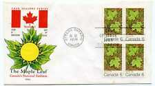 Canada 536 Maple Leaf Summer, Cole, block of 4, Fdc