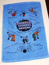 """Bowling Excuse Towel Blue - ExtraLarge Fun Bowler Gift 15""""x24"""" Funny Crying New"""