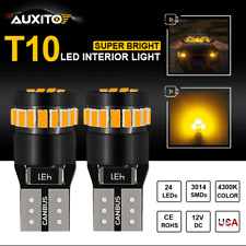2X AUXITO Canbus T10 194 168 192 2825 W5W Amber LED Wedge Interior Bulb Light