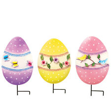 Collections Etc Floral Easter Egg Garden Stakes - Set of 3 Multi