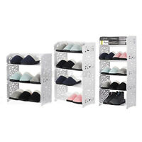3/4/5 Tier Shoe Rack Modern Storage Shelf Stand Wood Plastic Organiser Displ