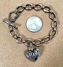 "LAGOS Caviar  Sterling Silver &18K Yellow Gold Heart Charm 7.5"" Bracelet"