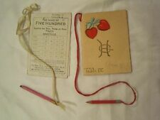 Lot of (2) c. 1910 TALLY SCORE CARDS for card game of FIVE HUNDRED w/ pencils *
