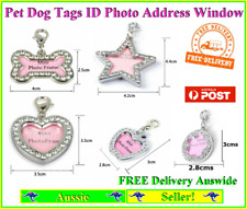 Pet Dog Cat Tag Tags or Key ring with Window for address or Id photo Rhinestones
