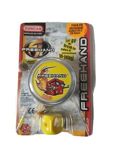 DUNCAN FREEHAND CLEAR YELLOW STICKER YO YO WITH TRICK CD