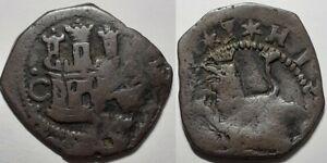 SPAIN PHILLIP II 1556–1598 TWO CUARTOS or 2 MARAVEDIS CUENCA MINT COPPER COIN
