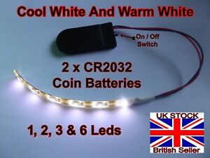 1PC 6 VOLT CR2032 COIN BATTERY OPERATED Various Sizes WARM & COOL WHITE + Switch