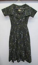 vtg Women's Beldon Cann 1950s Retro Grey Yellow Polka Dot House Wife Dress sz 6