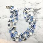 Vintage Signed Vendome Blue & White Bead Necklace Art Glass Crystal