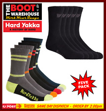 Hard Yakka Y20035 Cotton Crew Work Socks, Size 7-12 - 5 Pack