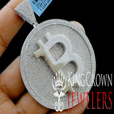 Mens Real White Gold Over Silver Custom Medallion Bitcoin QR Pendant Big XL 3''