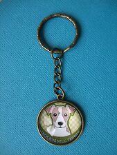 Jack Russell Dog Keyring Puppy Metal Handmade Bag Charm Bronze Artwork Terrier