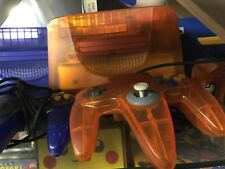 Nintendo 64 N64 Fire Orange System Console Complete 2 Controllers Atomic Clear
