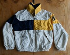 Vtg Reversible Nautica Rain Jacket Parka Yellow White Navy Blue Large