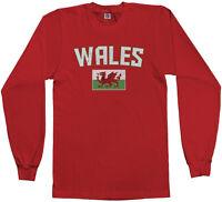 Threadrock Men's Wales Flag Long Sleeve T-shirt United Kingdom Welsh Soccer