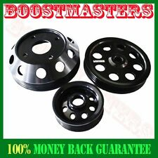 For Nissan 240SX S14 S15 SR20 EMUSA Aluminum Performance Black Crank Pulley Kit