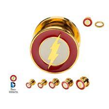 Flash Logo Screw Fit Gold Plated Steel Plug 2G 2PR Licensed DC Comics