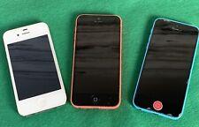 Lot 3 Apple iPhones, 5C Blue A1532, Orange A1532, White 4S A1387 parts or repair