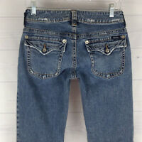 Silver Jeans Distressed Womens 28 in. Stretch Med Wash Flap Low Rise Bootcut