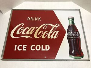 "Vintage Drink COCA-COLA TIN Metal SIGN Ice Cold 27 1/2"" X 19 1/2"""