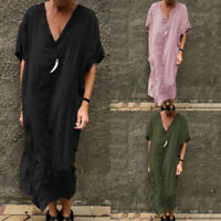 Plus Size Women Short Sleeve Deep V T-Shirt Dress Oversize Split Hem Midi Dress