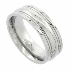 Titanium Ring Men Women Wedding Band Domed Center Grooved Edge Comfort Fit 6mm