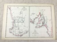 Antik Map Of Australia Western South Alte Hand- Farbig 19th Jahrhundert Original