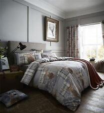 STAG HEADS PATCHWORK TARTAN PLAID GREY BROWN COTTON BLEND DOUBLE DUVET COVER