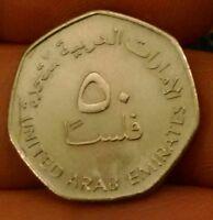 United Arab Emirates 50 fils 1998 AH 1419 filsa oil derricks nice coin KM 16