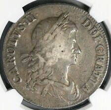 1663 NGC VF 20 Charles II Crown Rare No Rx Stops Great Britain Coin (19071901C)