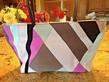 EMILIO PUCCI Multicolor Abstract Print Canvas  Satchel Tote Handbag RARE