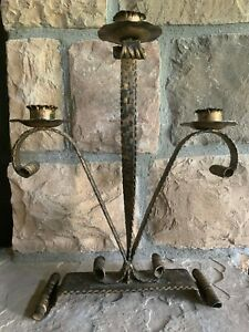 VINTAGE SPANISH Antiqued Gold IRON 3 ARM CANDELABRA CANDLE HOLDER Made IN SPAIN