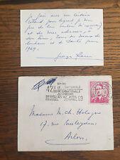 HERGE (Georges Remi). Billet autographe signé.