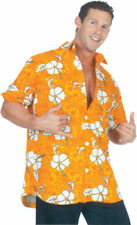 Morris Costumes Men's Short Sleeve Hawaiian Polyester Shirt Orange XL. UR29418XL