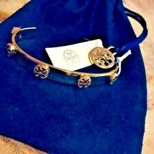 NWT TORY BURCH GOLD MILGRAIN  STUDDED T LOGO CUFF BRACELET with POUCH