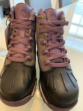 Girls Timberland Euro Hiker Shell Toe Boots 1 Purple Grey Premium Kids Shoes
