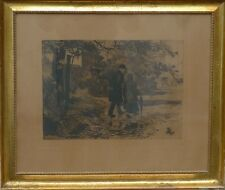Hans Nicolaj Hansen (1853-1923) couple lors de la promenade-Gravure datée 1922