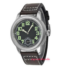 44mm Parnis negro de cuero de acero inoxidable asia 6498 mano Winding mens watch reloj