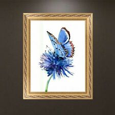 DIY 5D Diamond Embroidery Blue Flower Butterfly Painting Cross Stitch Home Decor