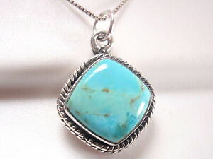 Turquoise Square with Soft Corners 925 Sterling Silver Necklace