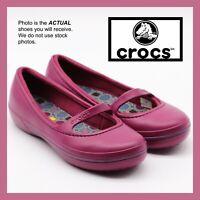CROCS CROCBAND WINTER FLAT OLIVIA ALICE MARY JANE PRIMA SHOE~Purple Plum~W 9~NEW
