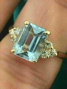 2.50Ct Emerald Cut Aquamarine Solitaire Engagement Ring 14k Yellow Gold Finish
