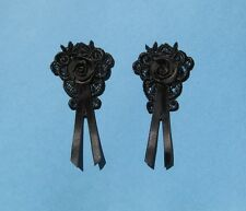 2 Black Venise Lace Appliques With Black Satin Roses - EM2
