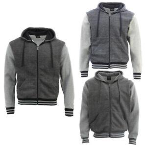 Mens Varsity Hoodie Casual Jacket College Sweatshirt Sport Fleece Zip Up Jumper