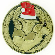 CPO CHIEF ANTIQUE BRASS MALE X-MAS LIGHTS US Navy Challenge Coin