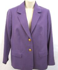 The TOG Shop Womens Blazer Jacket Size 12 Petite 100% Wool Dark Lilac Purple