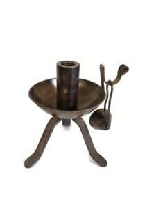 Mid Century Metal HandleTri Stand Candle Holder with Snuffer Modern Decor