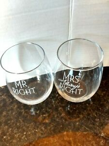 Mr. Right & Mrs always Right  wedding ,anniversary Every day wine Glasses