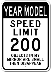 Custom GM YEAR and MODEL Car Speed Limit Sign Aluminum Metal Plaque Wall Decor