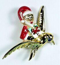 Vintage Signed Beatrix Christmas Santa Claus Riding Bird Pin Brooch Enamel